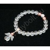 Hegyikristály fazettált angyalos karkötő rózsaarannyal
