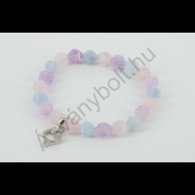 Ametiszt akvamarin rózsakvarc fazettált csillag karkötő strassz szívvel