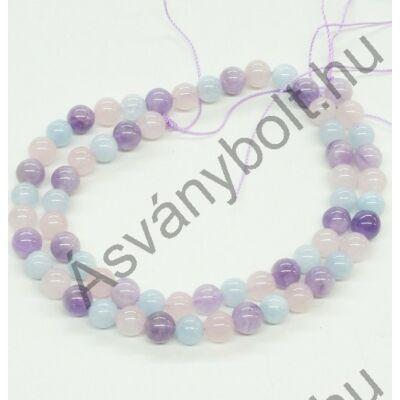 Ametiszt-rózsakvarc-akvamarin 6-os szál
