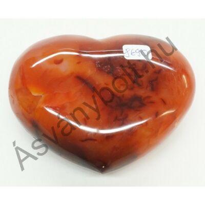 Karneol szív faragás 8690