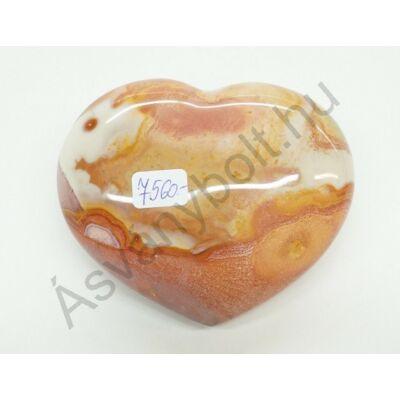 Polikróm jáspis faragott szív dísztárgy 7560
