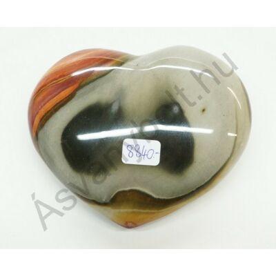 Polikróm jáspis faragott szív dísztárgy 8840