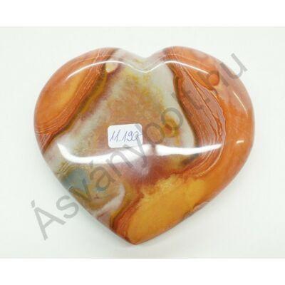 Polikróm jáspis faragott szív dísztárgy 11190