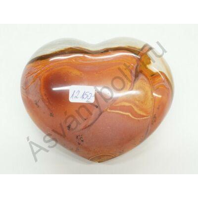 Polikróm jáspis faragott szív dísztárgy 12150