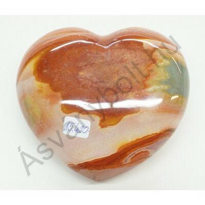 Polikróm jáspis faragott szív dísztárgy 15420