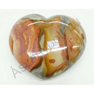 Polikróm jáspis faragott szív dísztárgy 17720