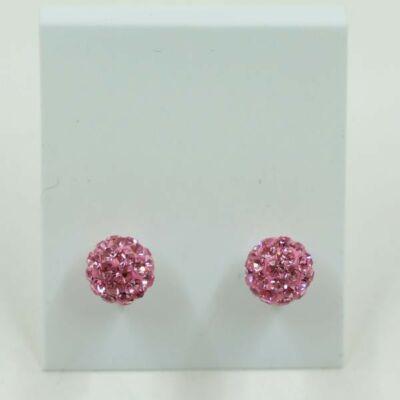 Rózsaszín strasszos beszúrós füli